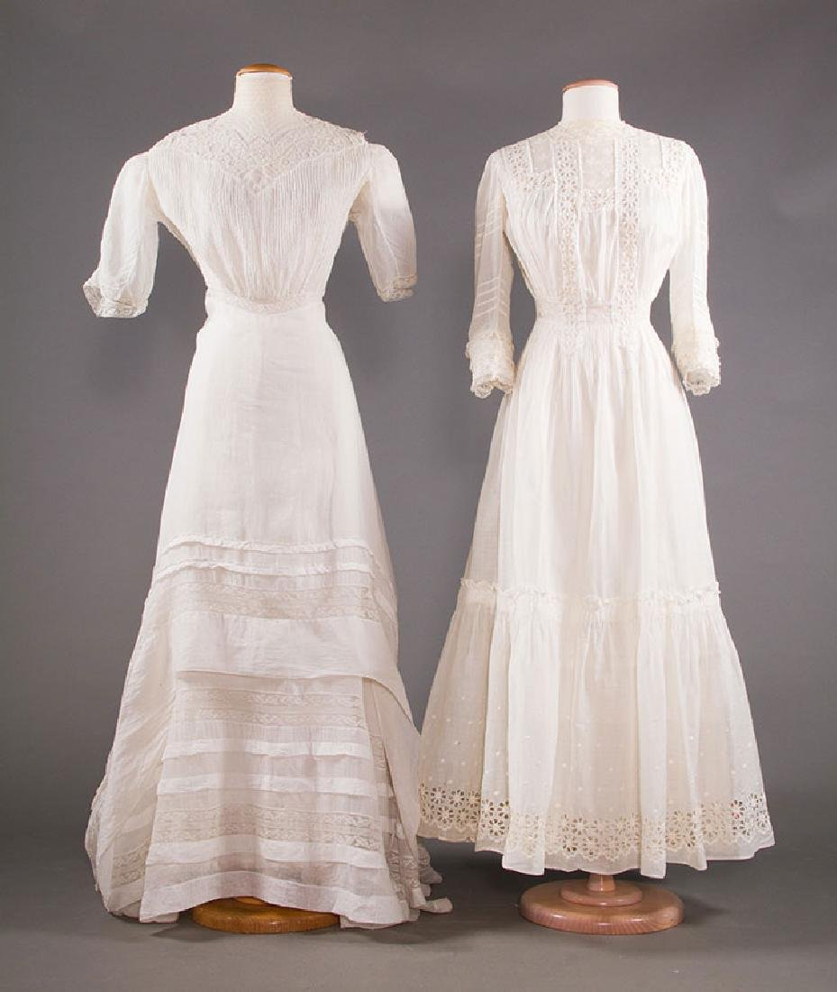 TWO WHITE LAWN TEA GOWNS, 1900-1904