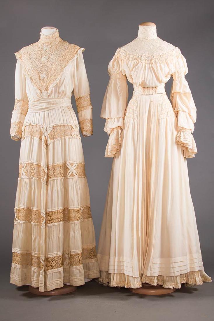 TWO CREAM SILK TEA GOWNS, 1905-1913