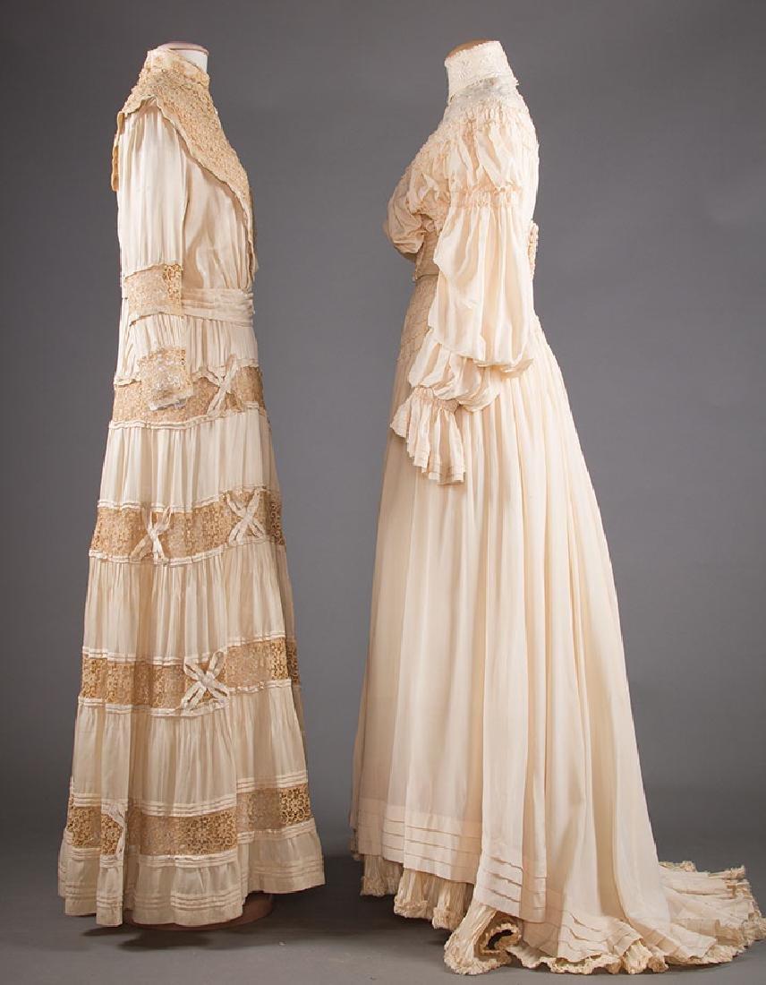 TWO CREAM SILK TEA GOWNS, 1905-1913 - 2