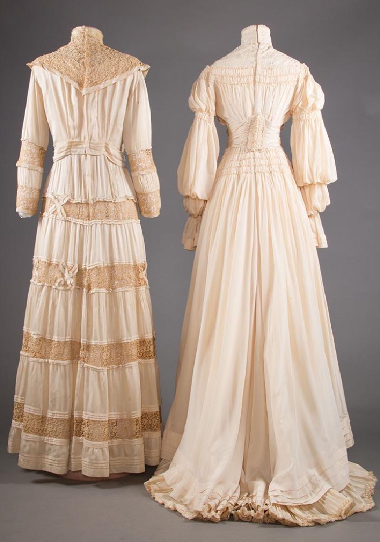 TWO CREAM SILK TEA GOWNS, 1905-1913 - 3