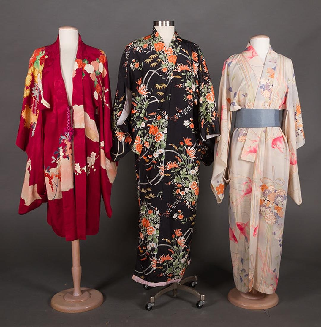 THREE LADIES' SILK PRINTED KIMONO, JAPAN
