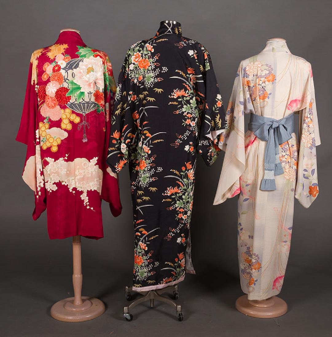 THREE LADIES' SILK PRINTED KIMONO, JAPAN - 2