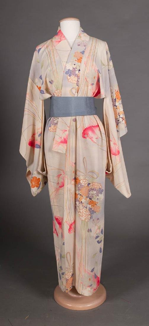 THREE LADIES' SILK PRINTED KIMONO, JAPAN - 4