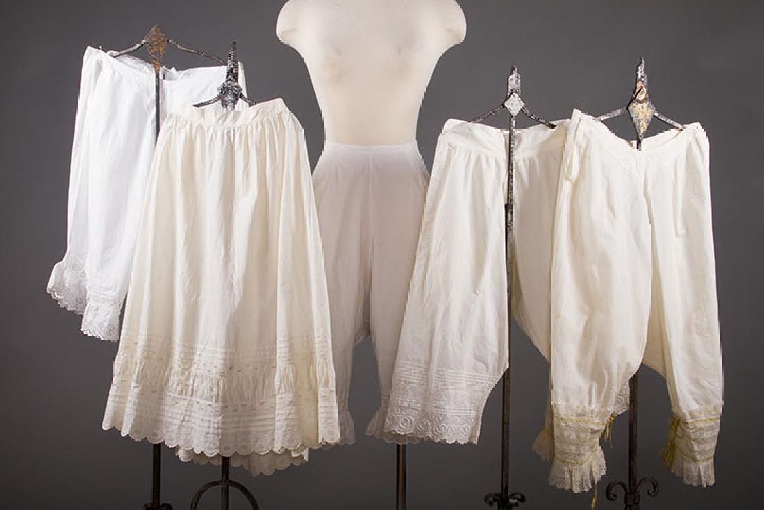 4 PAIR LADIES' DRAWERS & 1 PETTICOAT, 1850-1890s