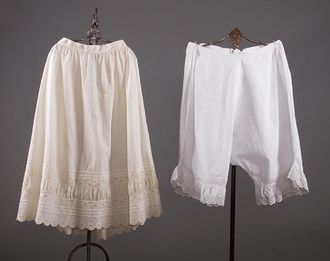 4 PAIR LADIES' DRAWERS & 1 PETTICOAT, 1850-1890s - 2