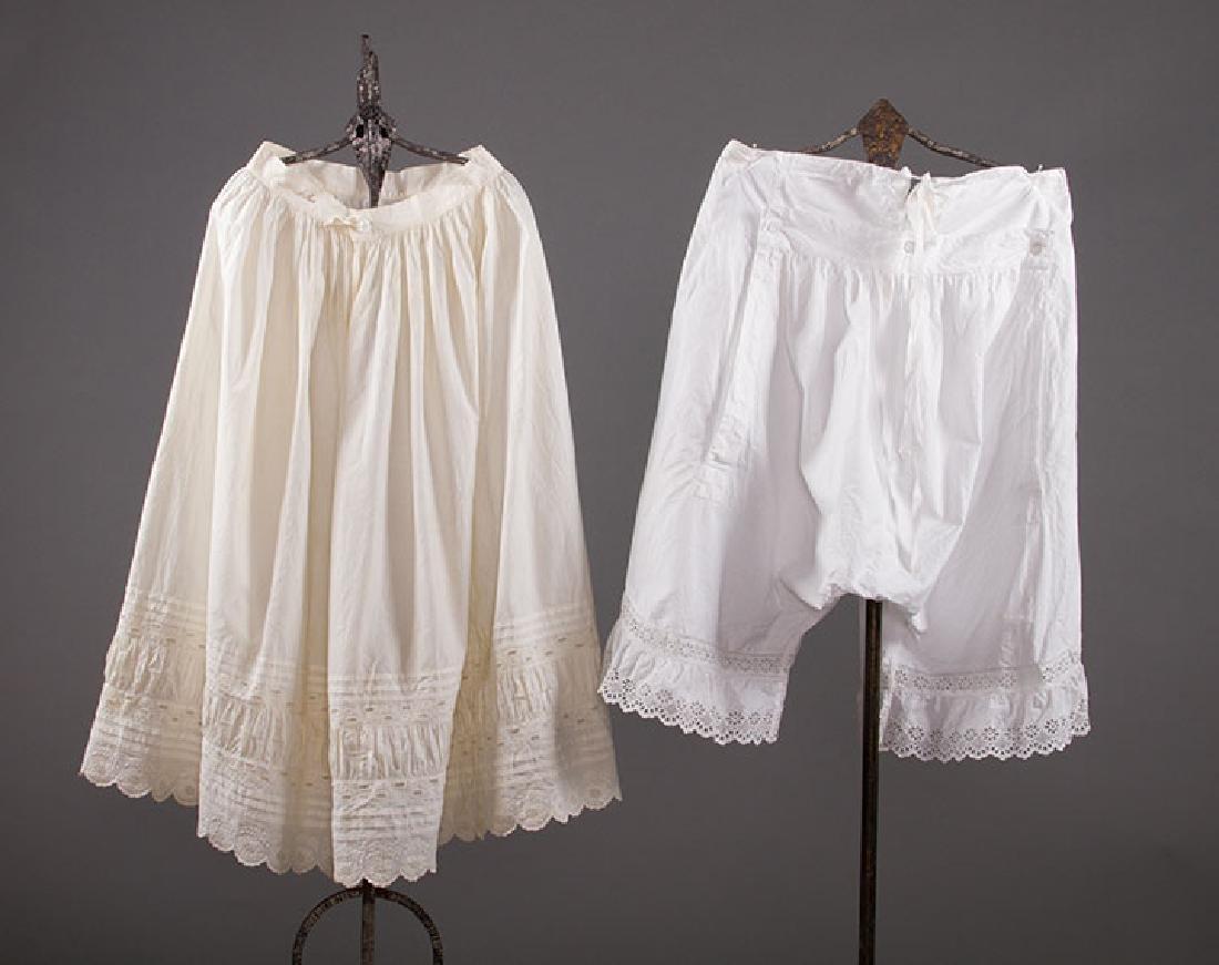 4 PAIR LADIES' DRAWERS & 1 PETTICOAT, 1850-1890s - 3