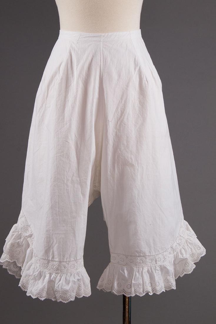 4 PAIR LADIES' DRAWERS & 1 PETTICOAT, 1850-1890s - 4