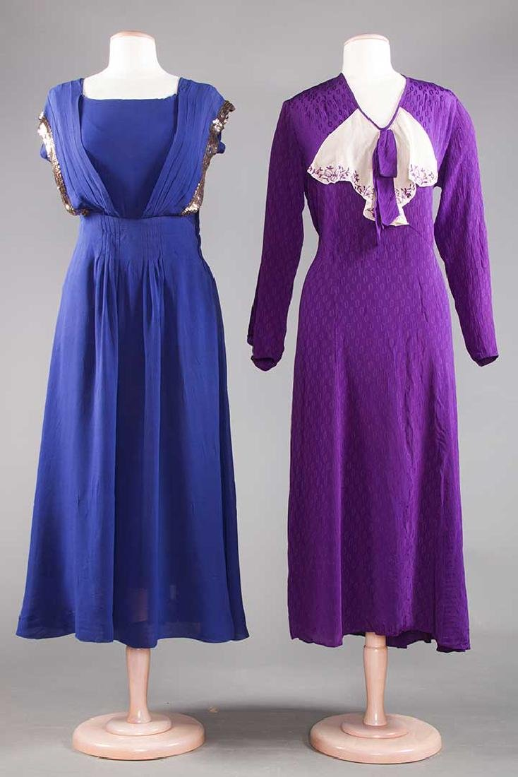 1 PURPLE & 1 NAVY SILK DRESS, 1930-1940