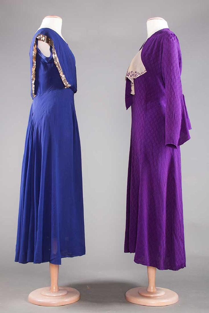 1 PURPLE & 1 NAVY SILK DRESS, 1930-1940 - 2