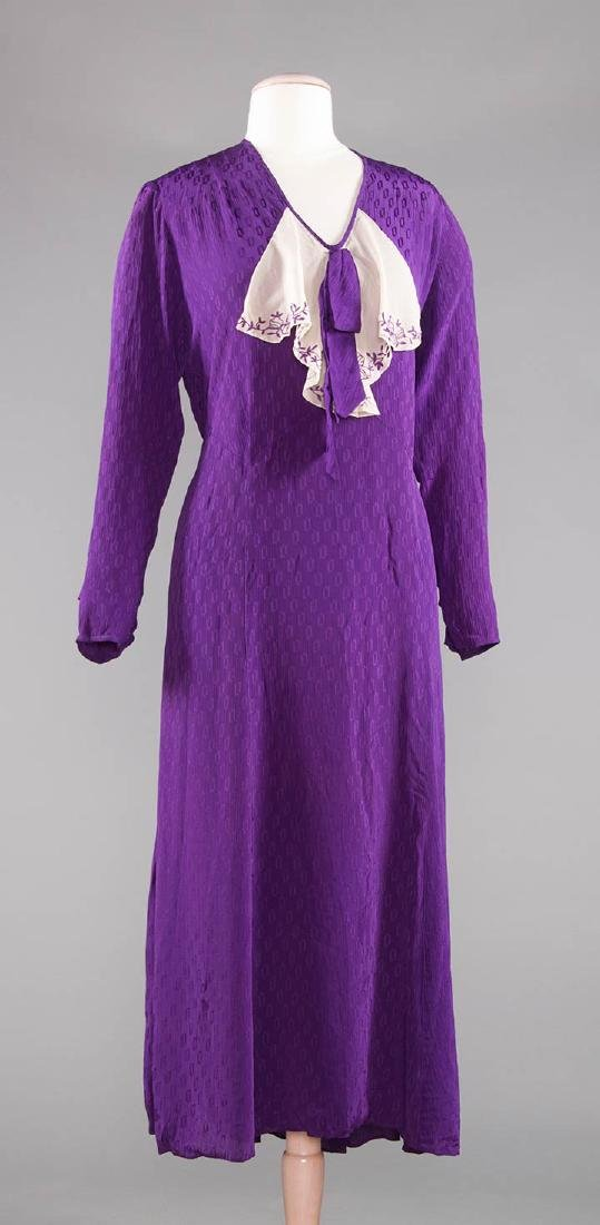 1 PURPLE & 1 NAVY SILK DRESS, 1930-1940 - 5