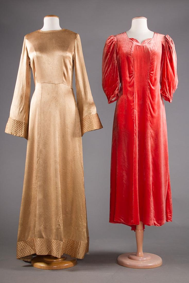 TWO EVENING GOWNS, 1940s