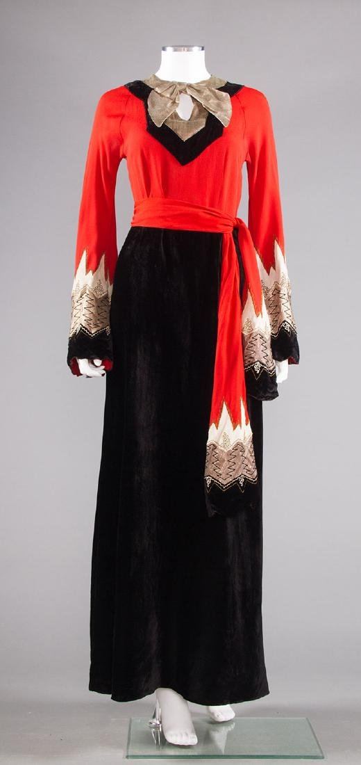 BLACK, CORAL & SILVER EVENING DRESS, c. 1940