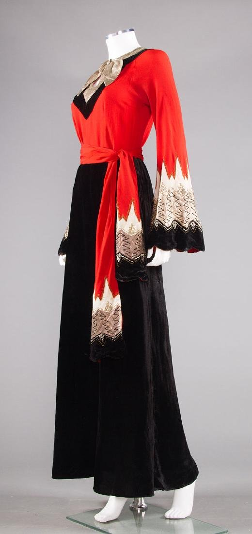 BLACK, CORAL & SILVER EVENING DRESS, c. 1940 - 2
