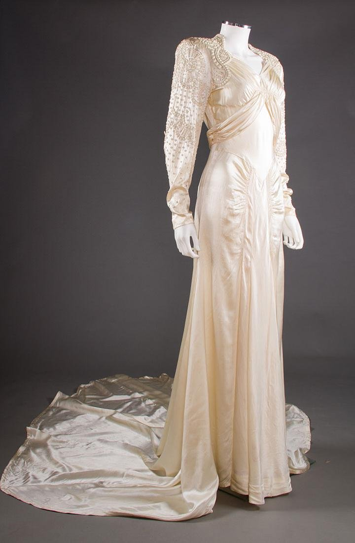 METAL STUDDED WEDDING GOWN, 1942-1945