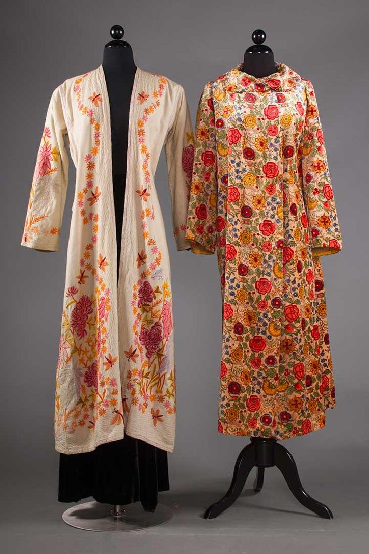 TWO FLORAL TRIMMED COATS, 1930-1940