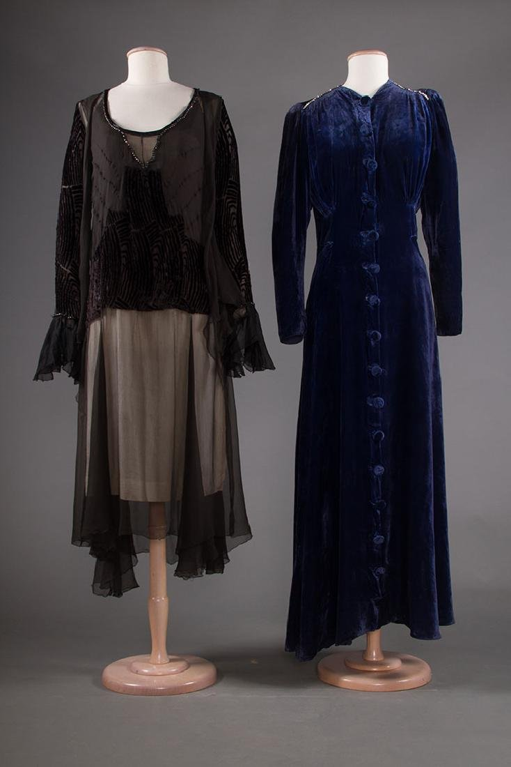 TWO VELVET EVENING GOWNS, 1930s