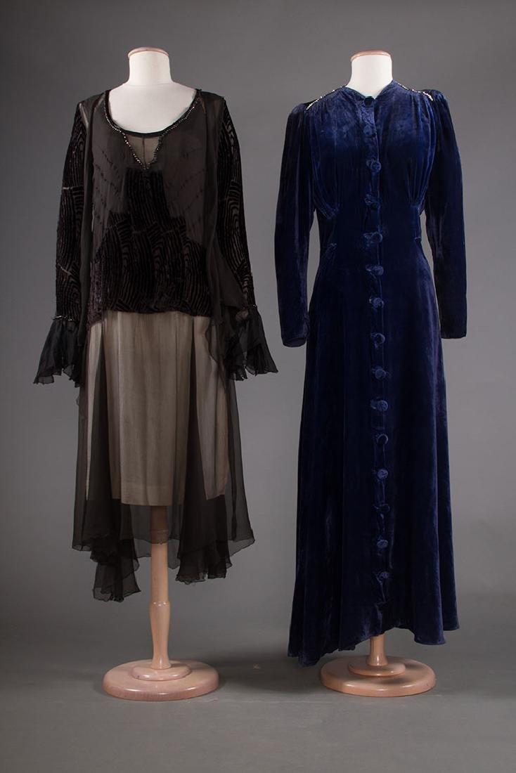 TWO VELVET EVENING GOWNS, 1930s