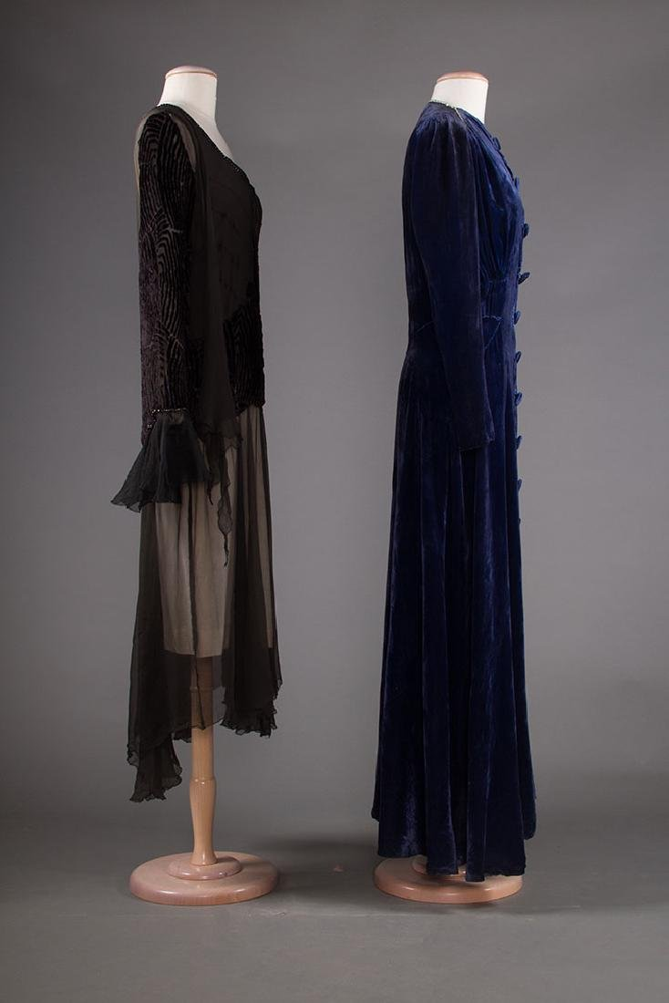 TWO VELVET EVENING GOWNS, 1930s - 2