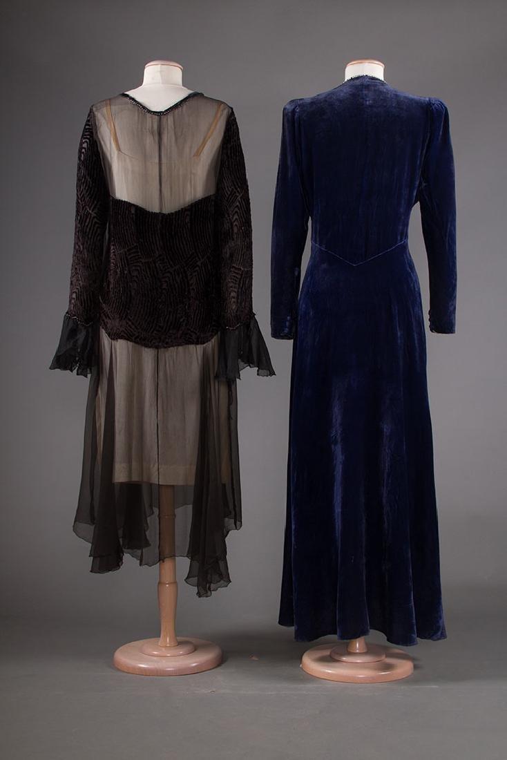 TWO VELVET EVENING GOWNS, 1930s - 3