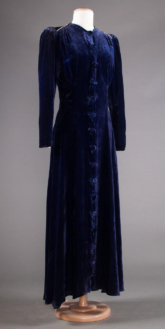 TWO VELVET EVENING GOWNS, 1930s - 7