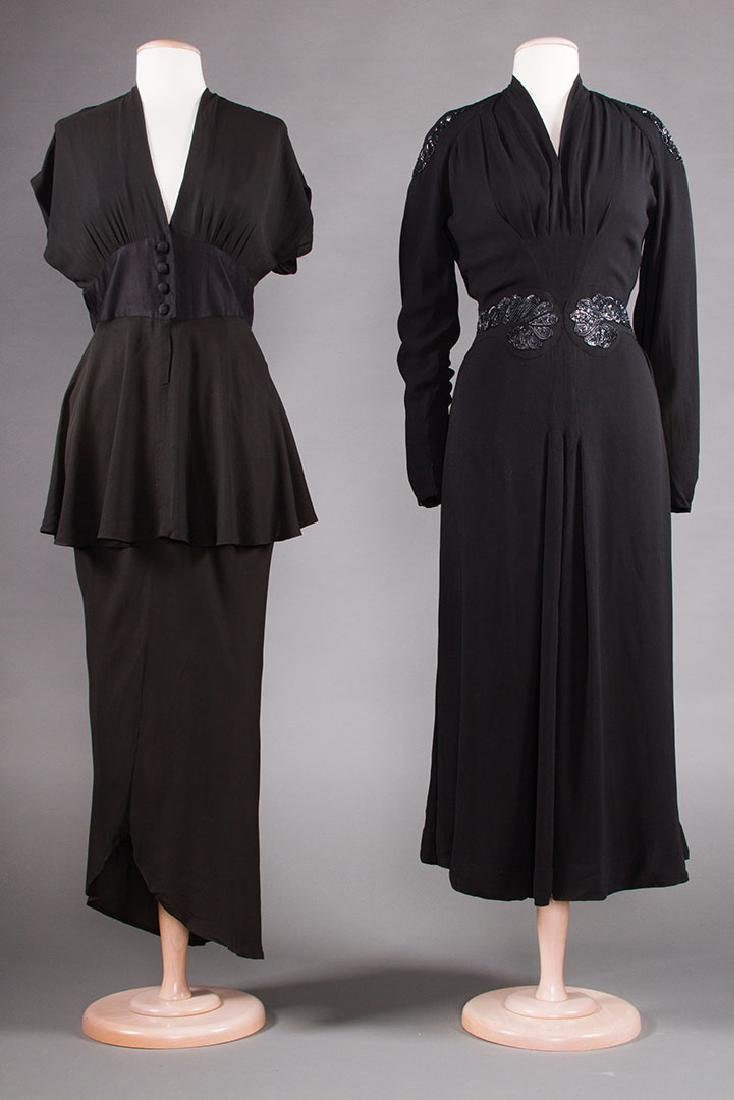 TWO BLACK SILK EVENING GOWNS, 1940s