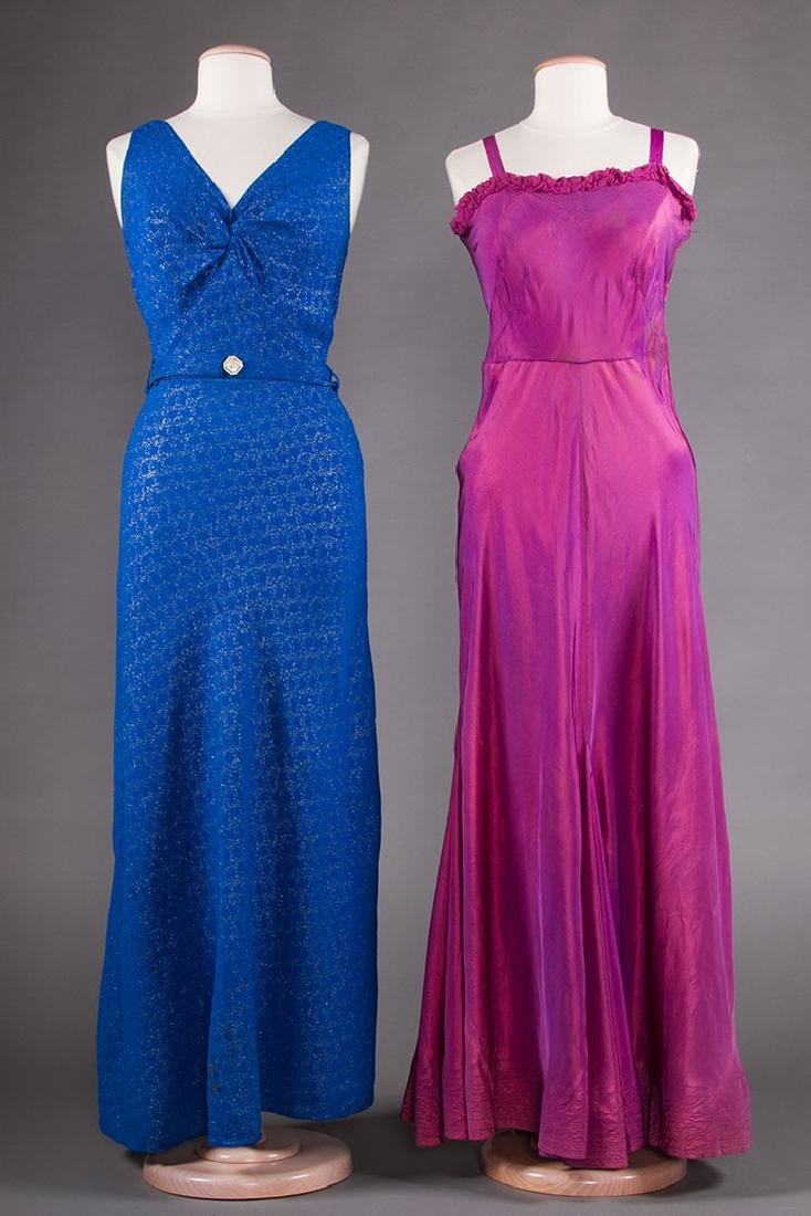 1 BLUE & 1 PURPLE EVENING GOWN, 1930s