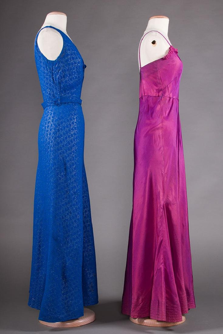 1 BLUE & 1 PURPLE EVENING GOWN, 1930s - 2
