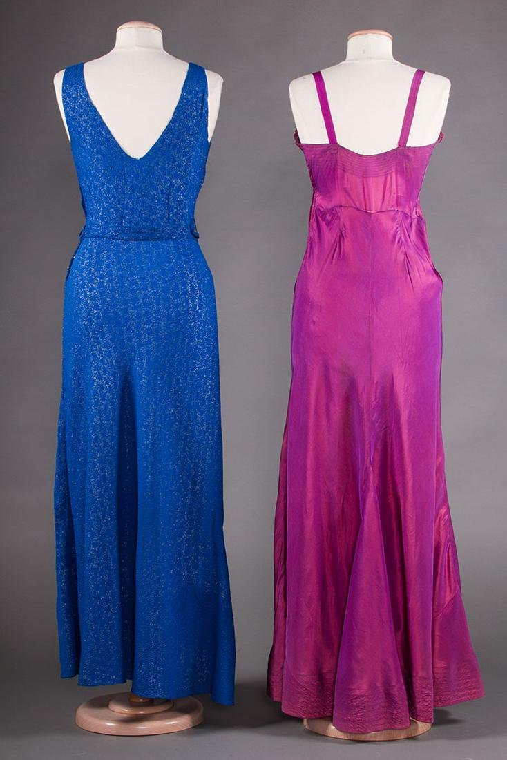 1 BLUE & 1 PURPLE EVENING GOWN, 1930s - 3