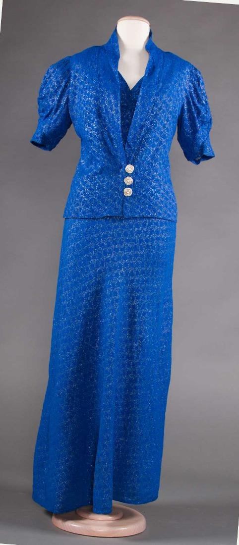 1 BLUE & 1 PURPLE EVENING GOWN, 1930s - 4