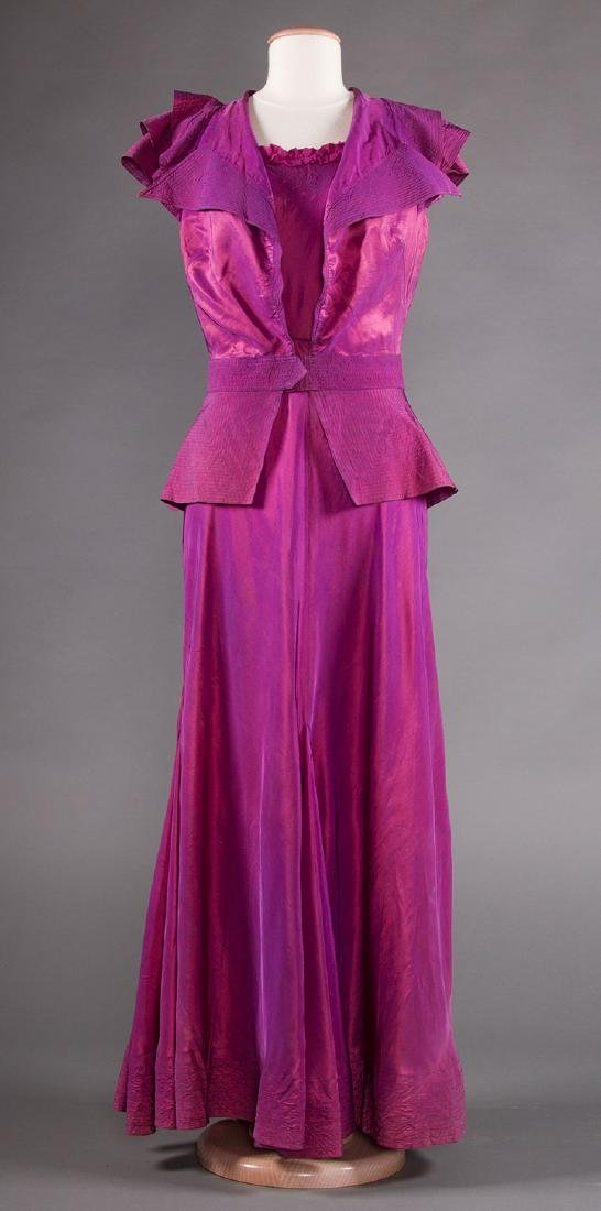 1 BLUE & 1 PURPLE EVENING GOWN, 1930s - 6