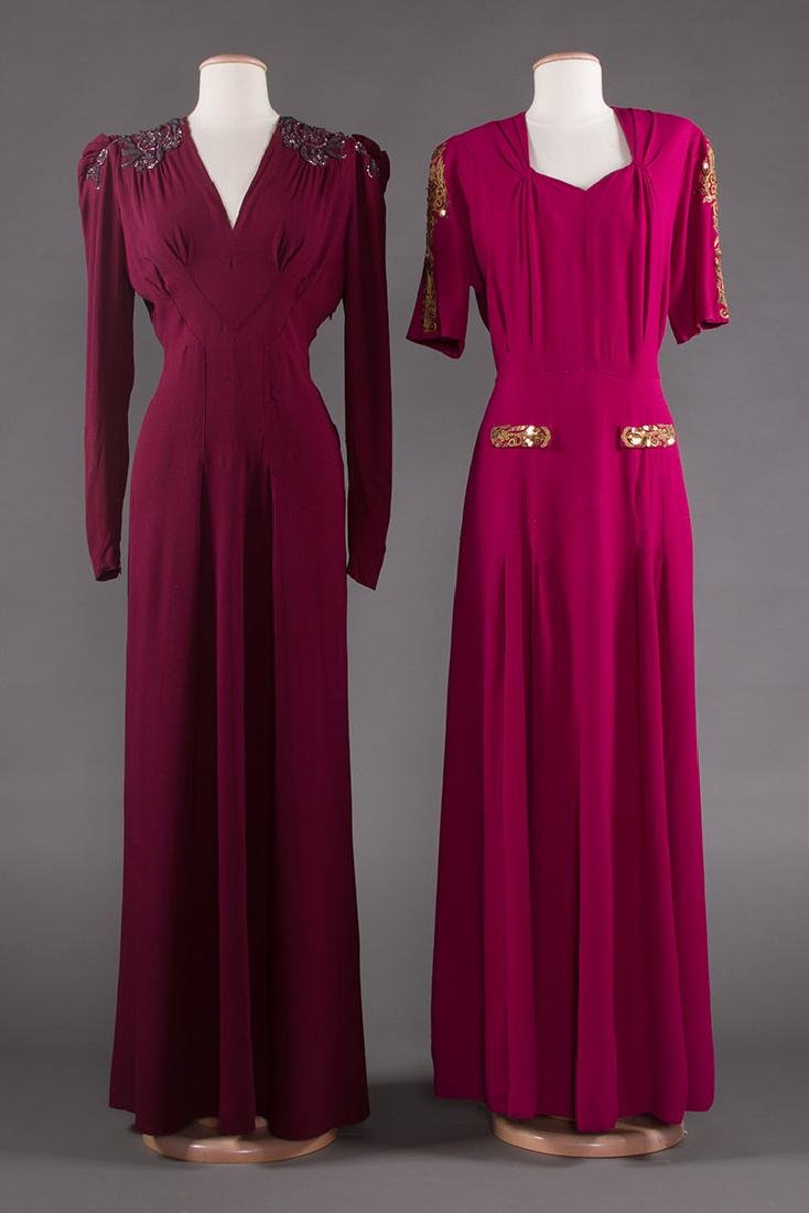 TWO PLUM CREPE EVENING GOWNS, 1940s