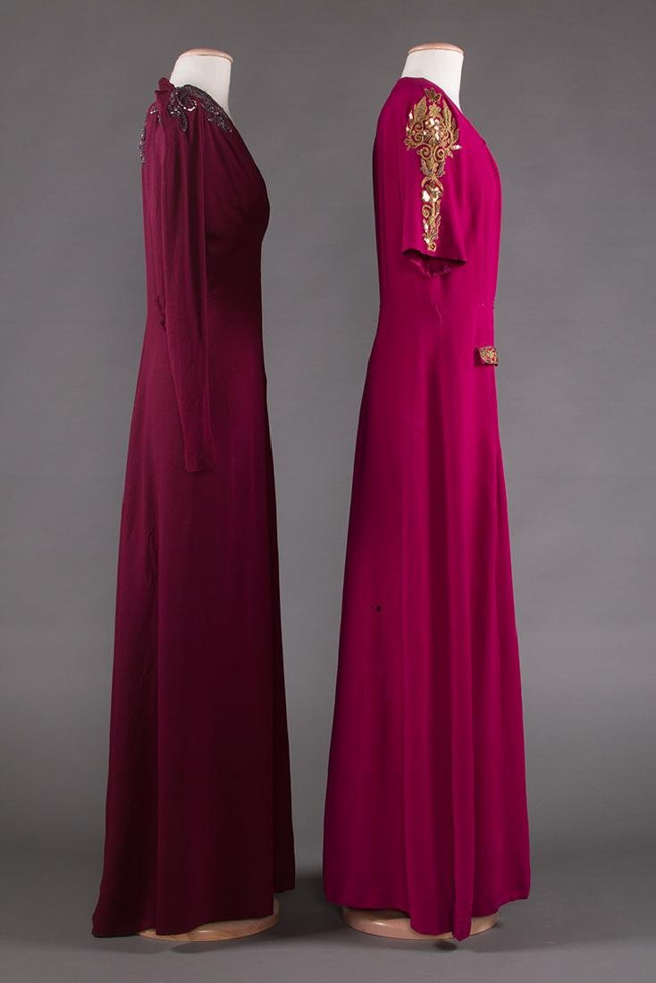 TWO PLUM CREPE EVENING GOWNS, 1940s - 2