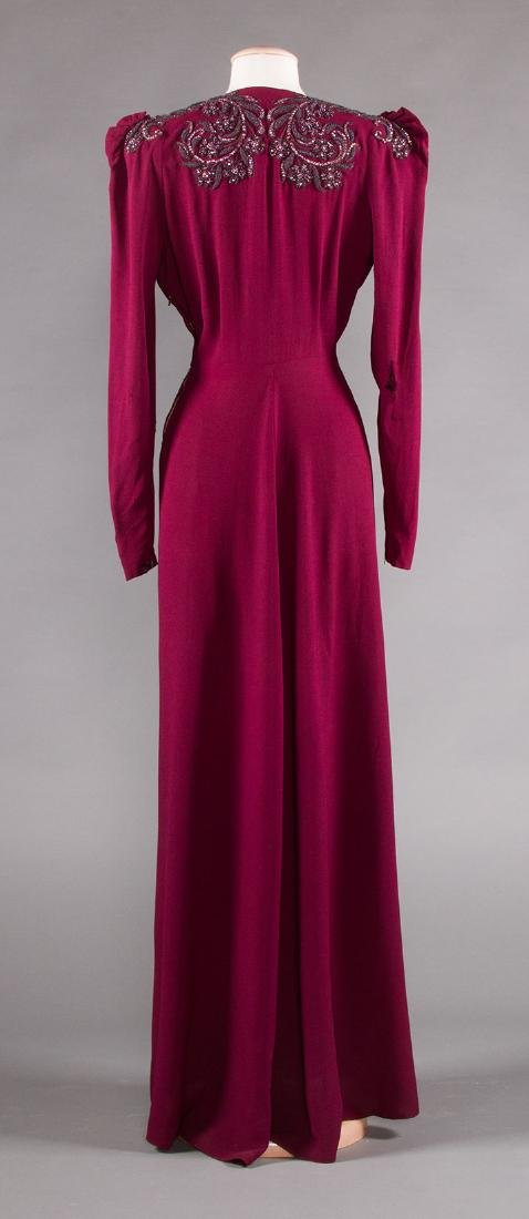 TWO PLUM CREPE EVENING GOWNS, 1940s - 5