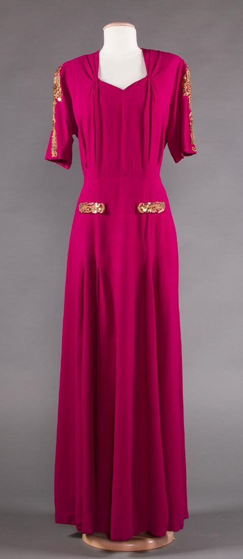 TWO PLUM CREPE EVENING GOWNS, 1940s - 7