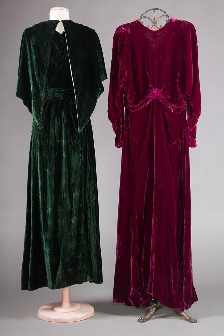 1 GREEN & 1 PLUM VELVET EVENING GOWN, 1930s - 2