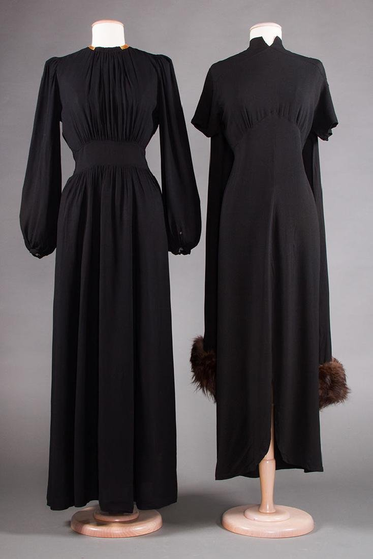 TWO BLACK SILK CREPE EVENING GOWNS, 1940s