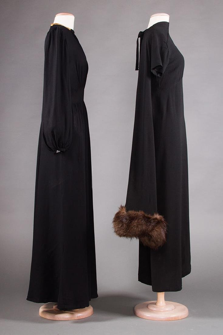TWO BLACK SILK CREPE EVENING GOWNS, 1940s - 2
