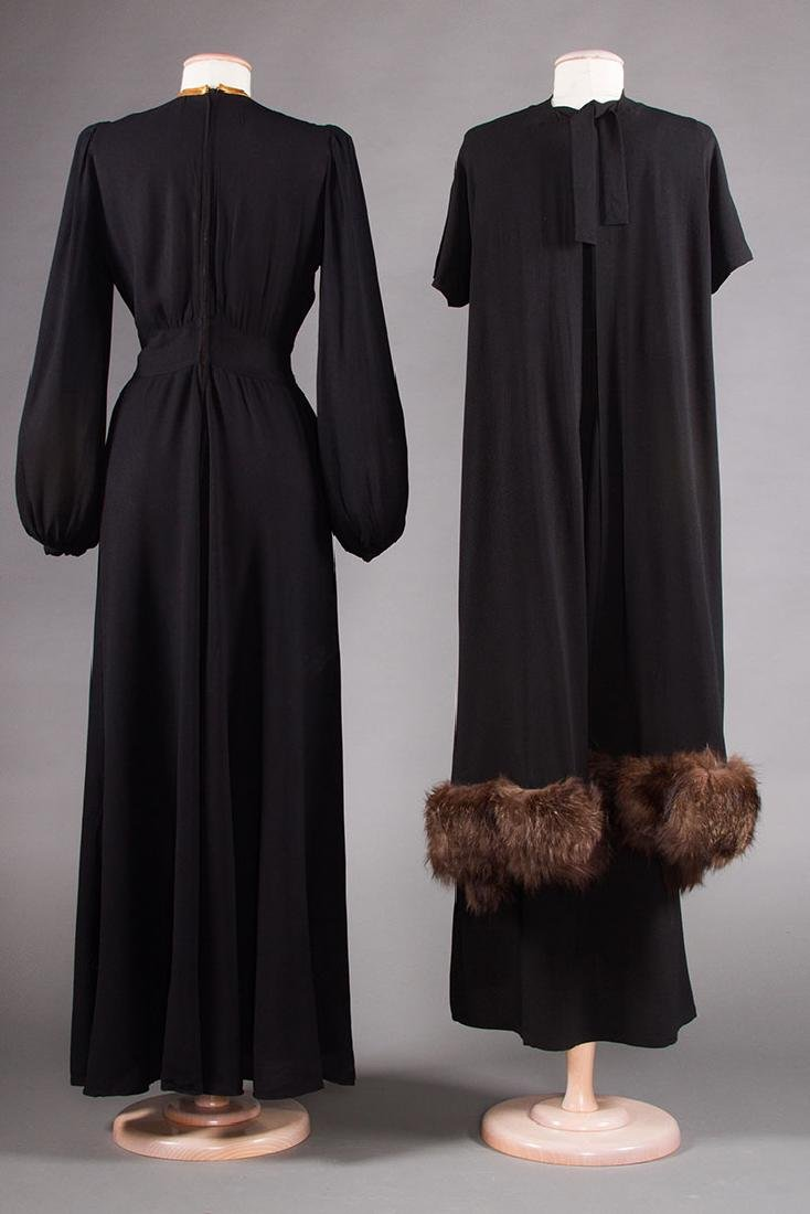 TWO BLACK SILK CREPE EVENING GOWNS, 1940s - 3