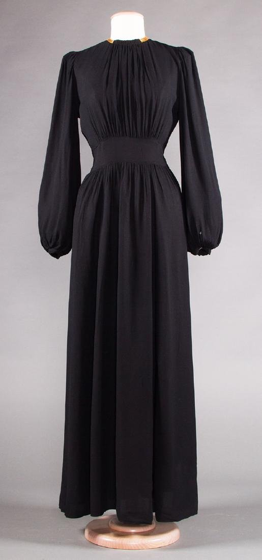 TWO BLACK SILK CREPE EVENING GOWNS, 1940s - 4