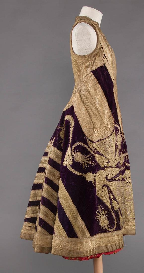 PURPLE VELVET & GOLD SLEEVELESS COAT, ALBANIA - 2