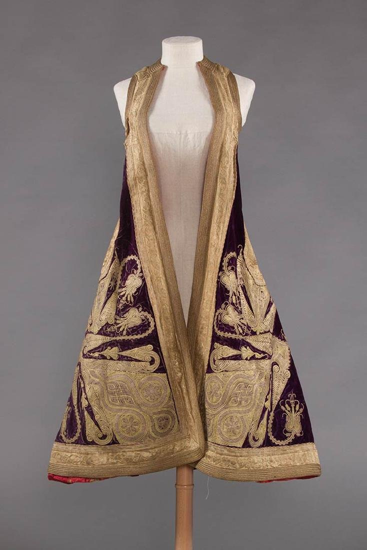 PURPLE VELVET & GOLD SLEEVELESS COAT, ALBANIA - 3