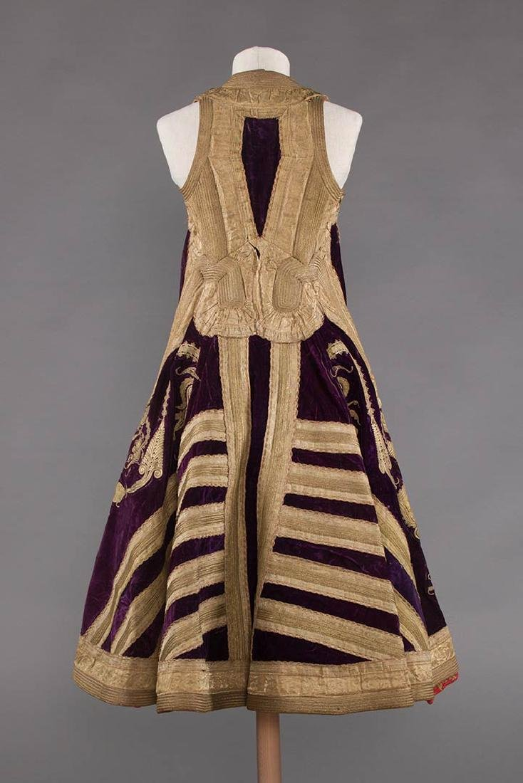 PURPLE VELVET & GOLD SLEEVELESS COAT, ALBANIA - 4