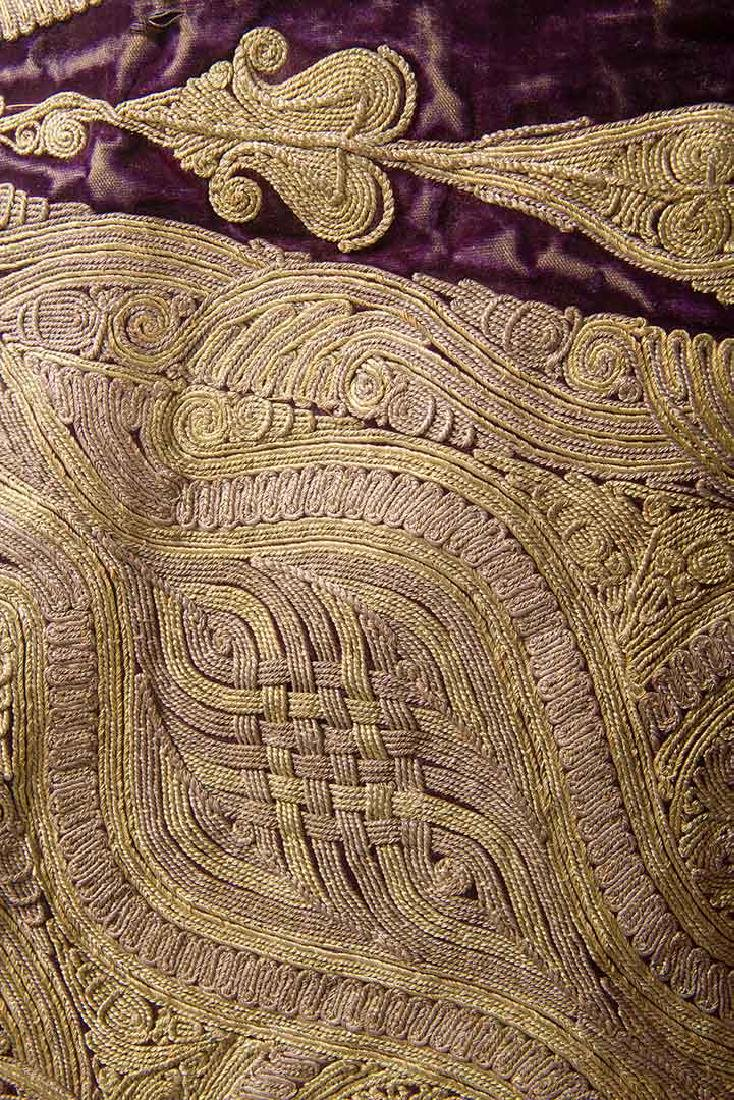 PURPLE VELVET & GOLD SLEEVELESS COAT, ALBANIA - 5