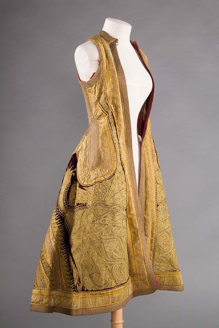 GARNET VELVET & GOLD SLEEVELESS COAT, ALBANIA - 2