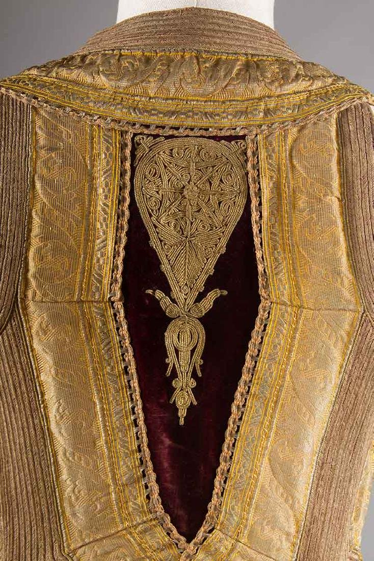 GARNET VELVET & GOLD SLEEVELESS COAT, ALBANIA - 5