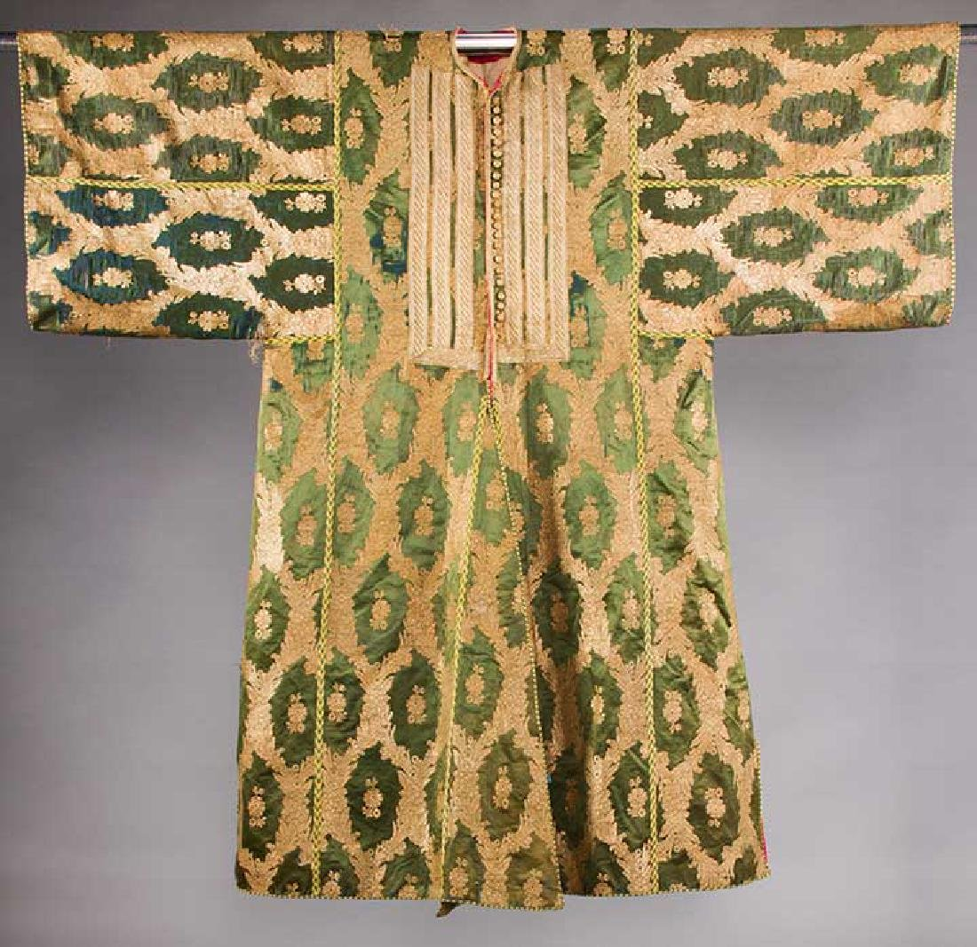 DARK GREEN & GOLD LAME BROCADE CAFTAN, 19TH C.