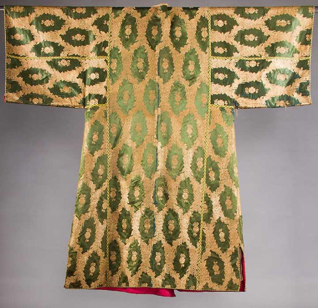 DARK GREEN & GOLD LAME BROCADE CAFTAN, 19TH C. - 2