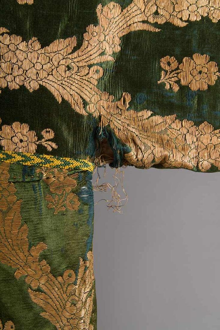 DARK GREEN & GOLD LAME BROCADE CAFTAN, 19TH C. - 7
