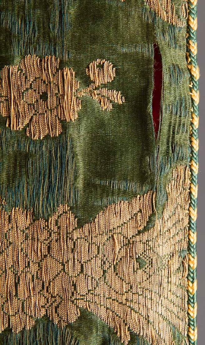 DARK GREEN & GOLD LAME BROCADE CAFTAN, 19TH C. - 8