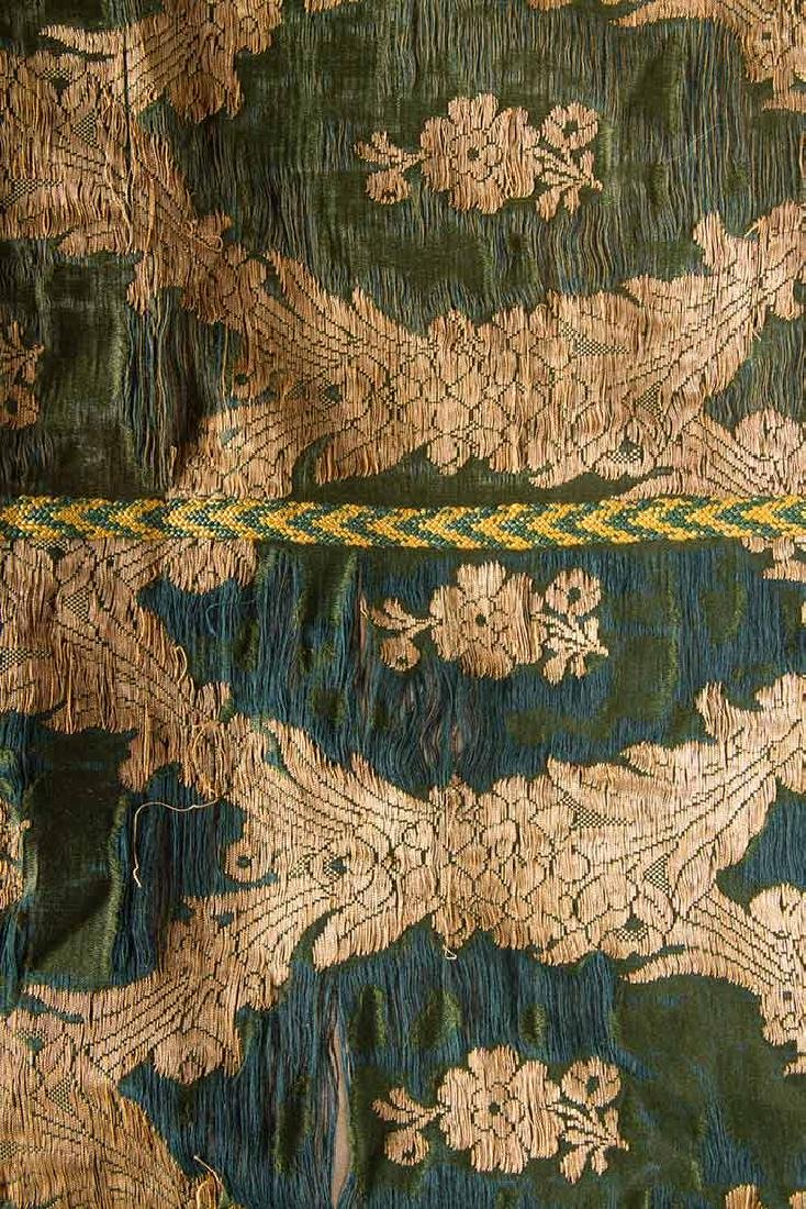 DARK GREEN & GOLD LAME BROCADE CAFTAN, 19TH C. - 9